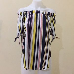 Stripped blue, pink & yellow top size S